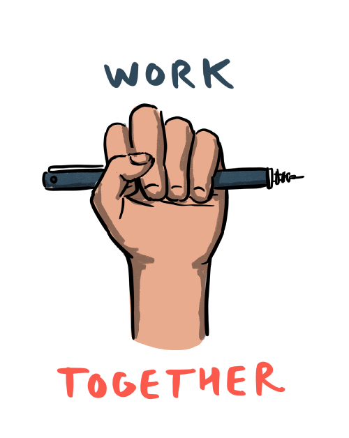 Work together (hand grasping a pen)